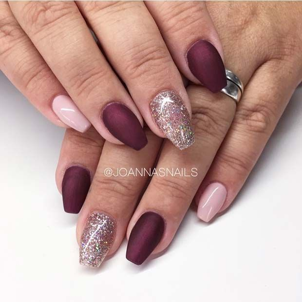 Simple Burgundy, Pink and Glitter Nail Art Design