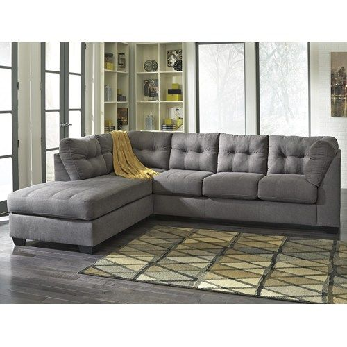 Ashley/Benchcraft Maier - Charcoal 2-Piece Sectional w/ Sleeper Sofa & Left Chaise