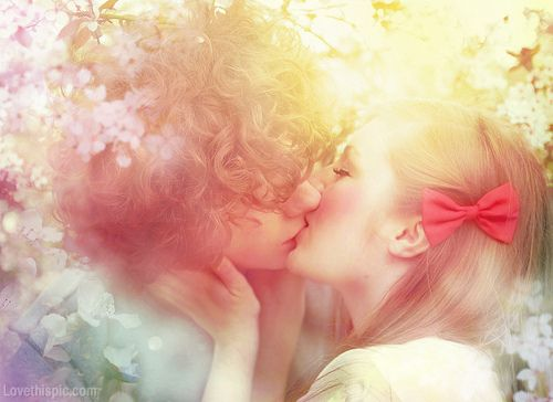 Sweet Kiss love kiss colorful vintage art couple romantic
