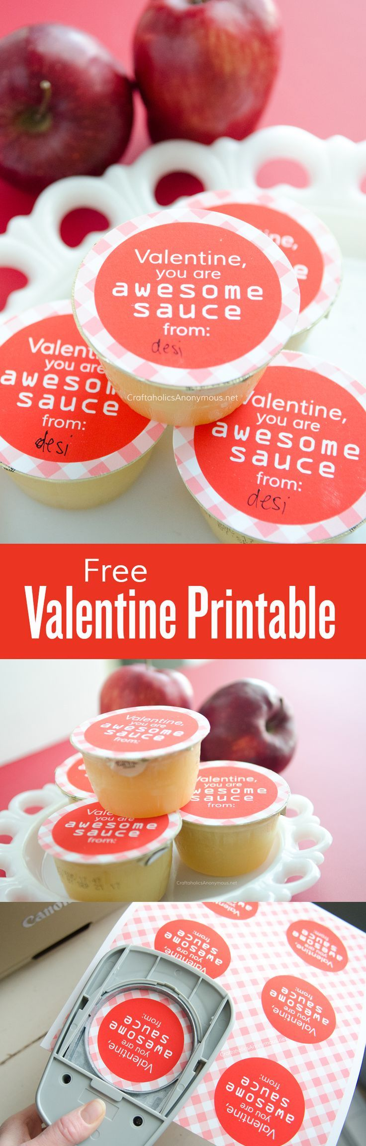 Free Healthy Valentine printable || Valentine you are AWESOMEsauce! || applesauce topper || preschool valentine