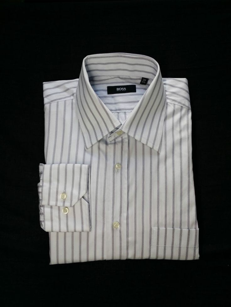 Men's Hugo Boss Striped Button Front Shirt Size 40 15.5
