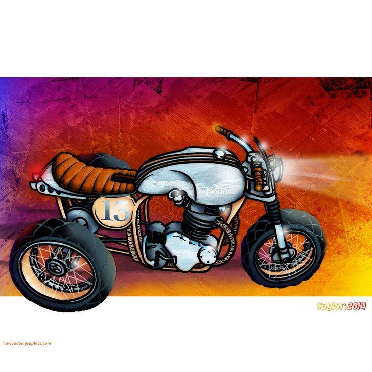 Norton Scrambler Trike http://www.redbubble.com/people/howyadoin/calendars/13088352-bikes #motorcycle #motorcycleart #norton #scrambler