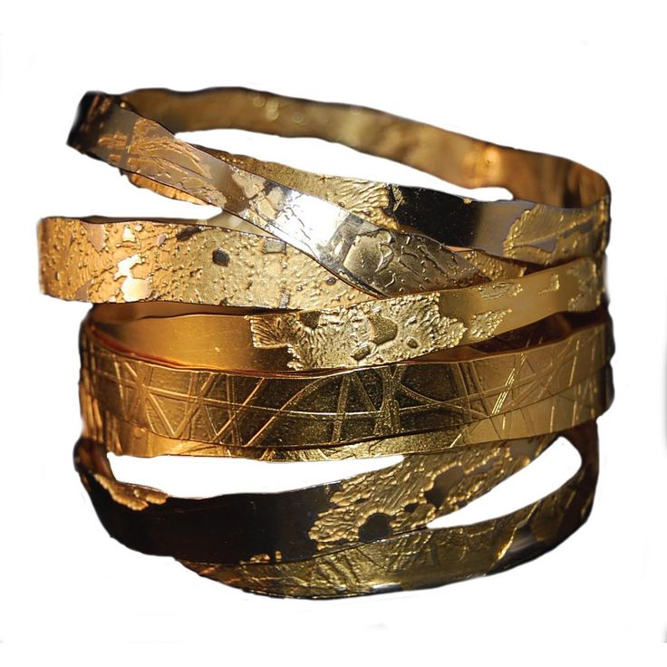 Hand Etched Gold Toned Bangles - set of 3 by Lingua Nigra