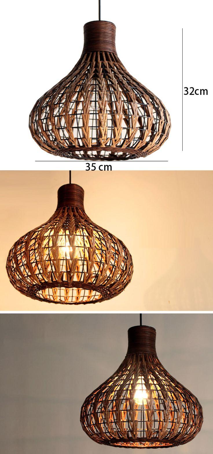 Wholesale 14 Handmade Modern Rattan Ceiling Pendant Lamp Living Lights Fixture Chandelier light, Free shipping, $115.98-124.31/Piece   DHgate