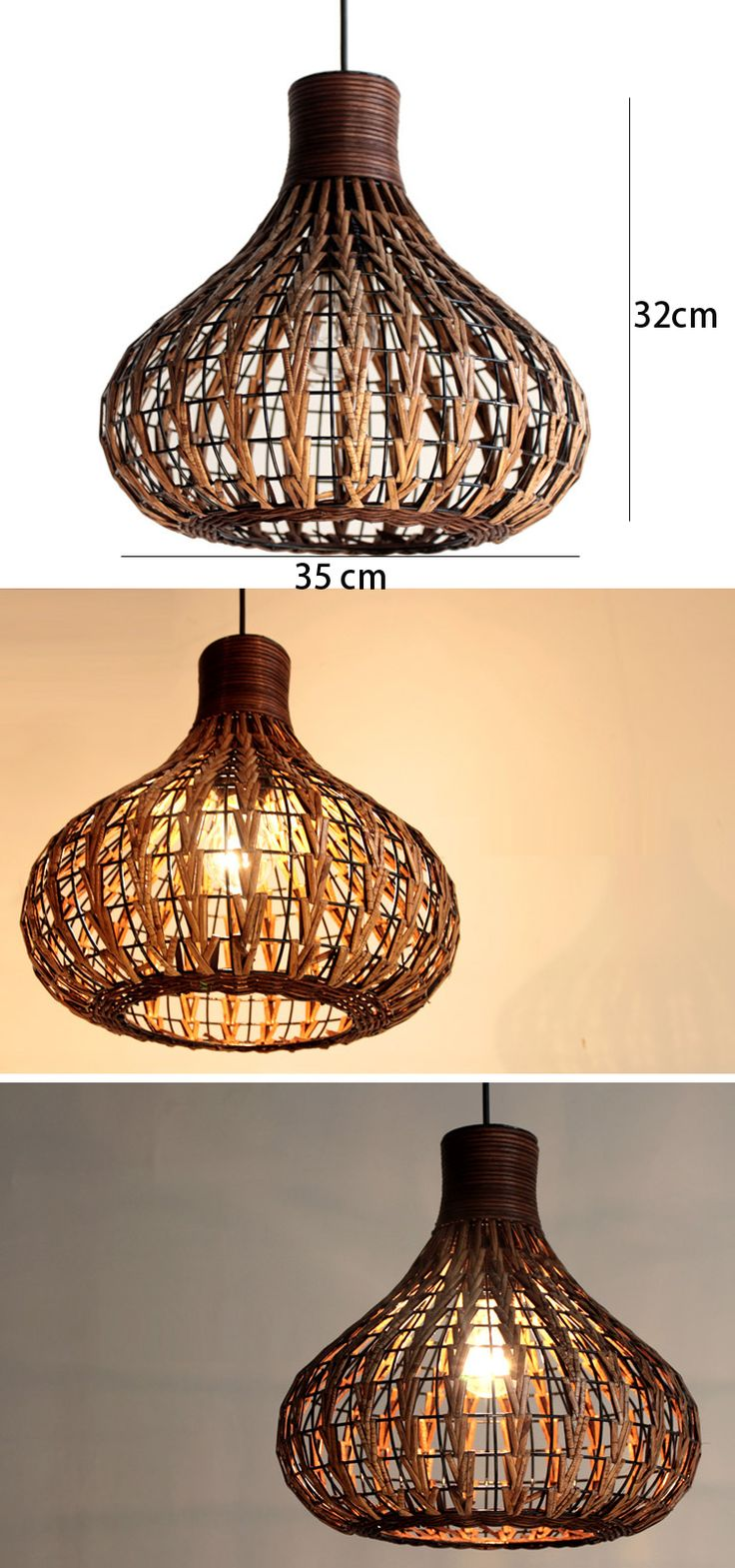 Southeast Asia Rattan Garlic Dining Room Ceiling Pendant