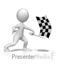 Figure Waving Checkered Flag PowerPoint Animation