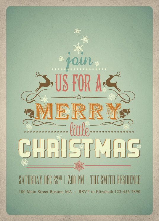 Printable Christmas Invitations Modern Color by plpapers on Etsy