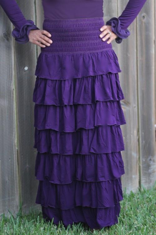 Jade Mackenzie Purple Long Quot Abigail Quot Layered Skirt 55