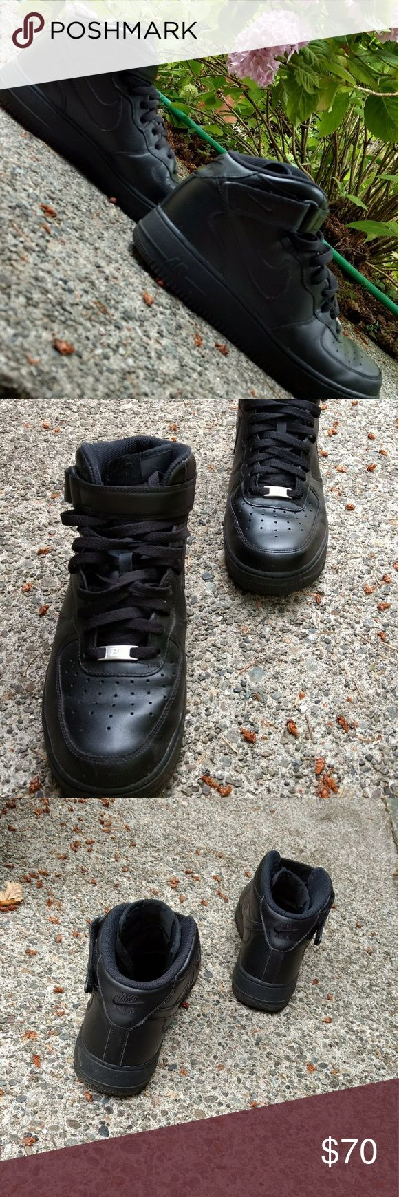Nike Air Force 1 Mid All black Air Force 1, worn three times and they have a crease shield in them. Very comfortable and will last a very long time. There is no shoe box. Price is debatable. Nike Shoes Sneakers