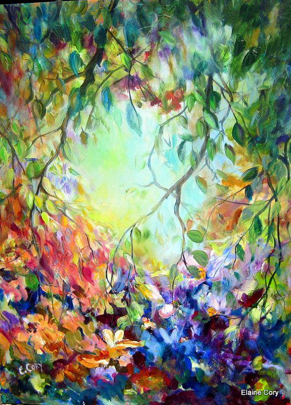 Backyard Landscape 30 x 40 Original Painting by Elaine Cory