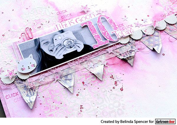 Scrapbook page by Belinda Spencer using Darkroom Door Numbers Texture Stamp and Bunting Border Stamp