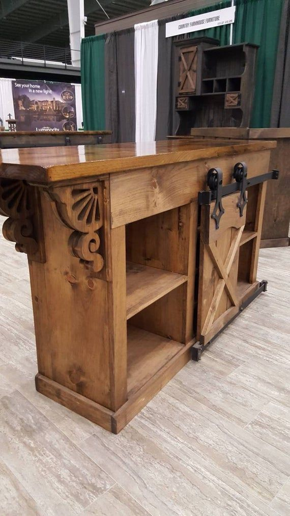 Kitchen Island Bar Cabinet W Sliding Barn Doors Country Etsy In 2020 Country Farmhouse Furniture Kitchen Island Bar Farmhouse Furniture