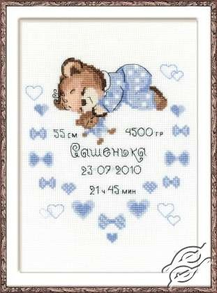 Certificate of Birth of a Boy - Cross Stitch Kits by RIOLIS - 1124