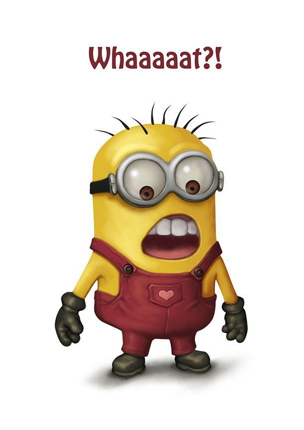 Minion says whaaaaat?! 。◕‿◕。 See my Despicable Me Minions pins https://www.pinterest.com/search/my_pins/?q=minions