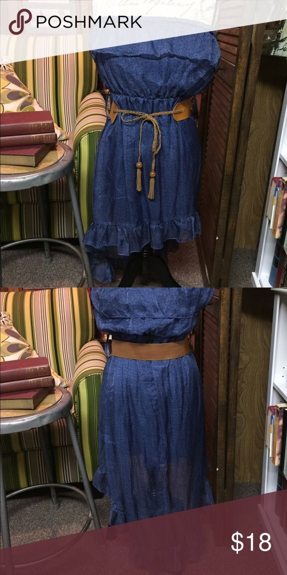 New Look Denim off the shoulder dress Denim inspired light weight dress. Short in front, longer train in back with brown belt. Great with cowboy boots New Look Dresses High Low