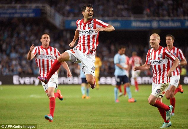 David Villa jumps up to punch the air after scoring on his Melbourne City debut on Saturday 11 Oct 2014 against Sydney FC