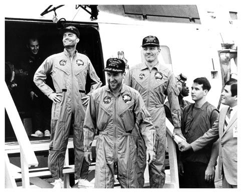 Astronauts of Apollo 13 aboard the USS Iwo Jima on April 17, 1970. The total flight time since liftoff was 5 days, 22 hours, 54 minutes, and 41 seconds.