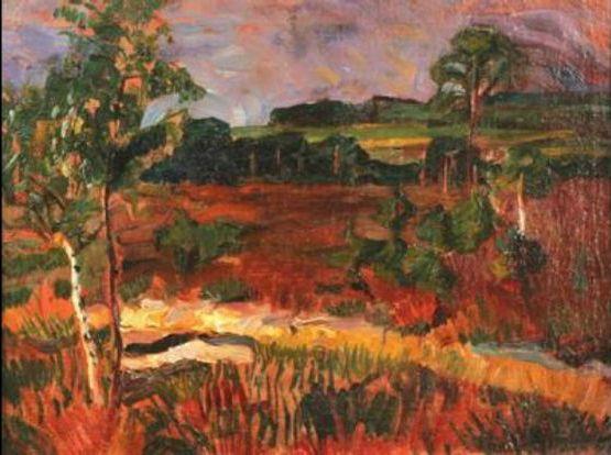 Bohumil Kubišta (Czech 1884– 1918) [Cubism, Expressionism, Osma (The Eight)] Krajina s vřesovištěm (Landscape with Heath), 1907.