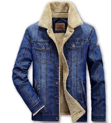 Men's Denim Cowboy Jacket with Fleece Lining