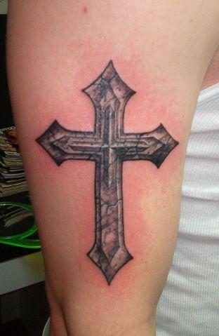 Stone cross tattoo tattoos pinterest tattoo tatting for Small feminine cross tattoos