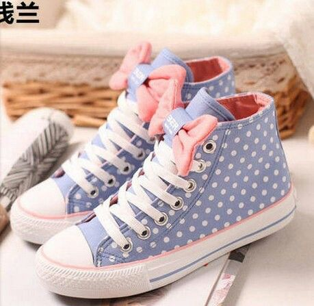 Shop Lovely Bowknot Polka Dots Canvas Shoes on sale at Tidestore with  trendy design and good price. Come and find more fashion Sneakers here.