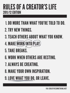 Rules of a Creator's Life.