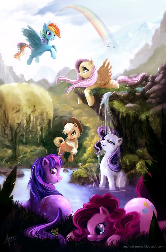 My Little Pony: Friendship is Magic by AndreaTamme.deviantart.com  I particularly like Pinkie Pie's pose. Not a big fan of Applejack's, but oh well