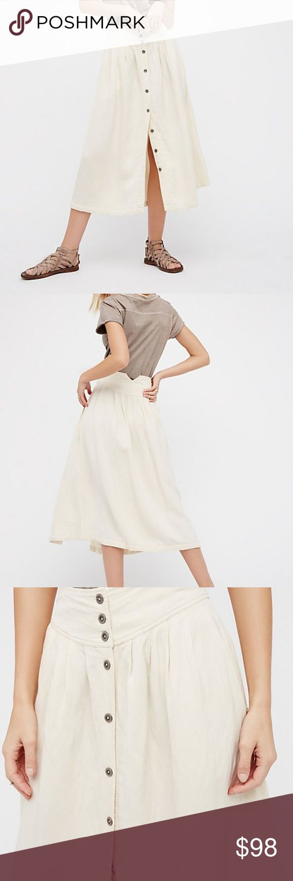 Free People Button Down Skirt Almond 10 FP Midi button down skirt. size 10 in almond. A nice, heavier linen blend material-almost canvas like that flows nicely and is not sheer at all. Worn once, No Flaws, tts - will add real pics today! Free People Skirts Midi