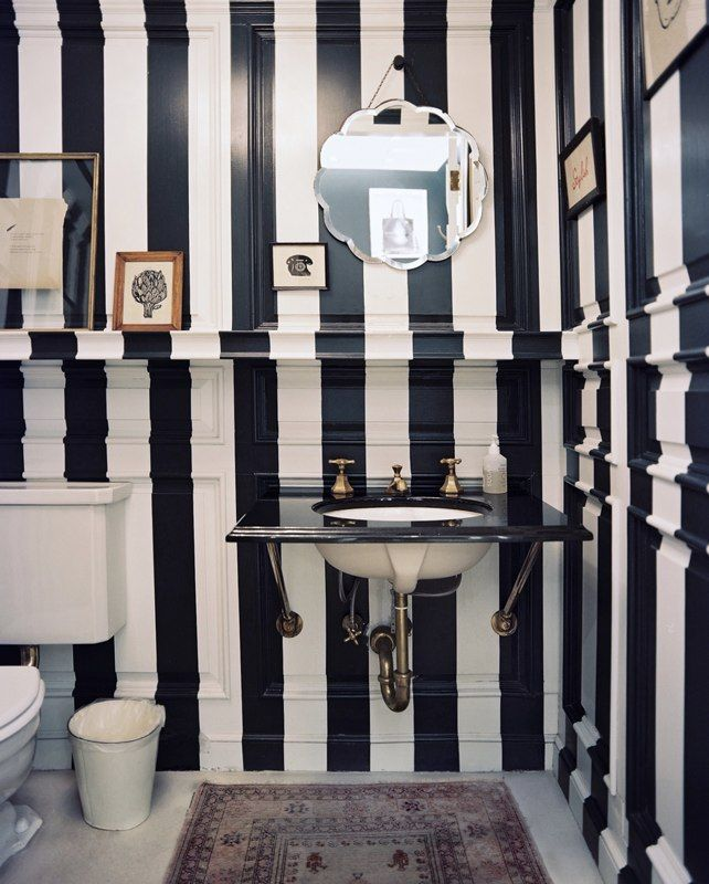 Black & white horizontal striped walls and fab mirror from Lonny Magazine Dec/Jan 2010. {Photography: Patrick Cline; Interior Design: Jenna Lyons of J. Crew.}