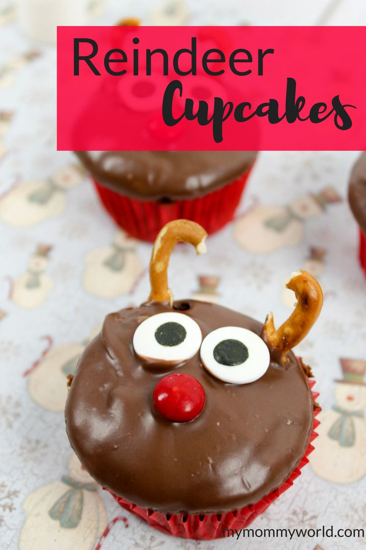 Looking for Christmas cupcake ideas? Try this easy recipe for Reindeer Cupcakes. Make your own Rudolph the Red Nosed Reindeer cupcakes using just pretzels and candy eyes and noses. Your kids will love these fun Christmas treats!
