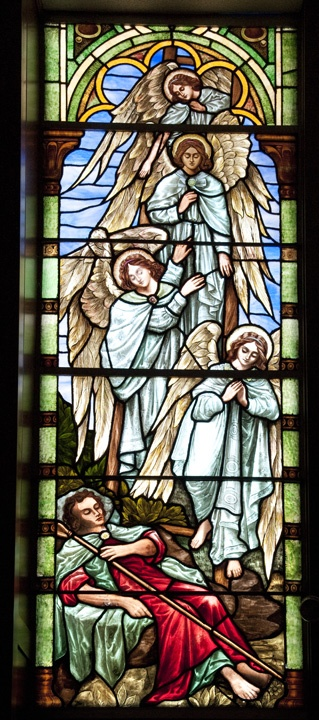 Jacob's Dream. This window depicts the story of Jacob and his dream of angels descending and ascending a ladder that reached to heaven, as related in the Book of Genesis (28:10-19).   Congregation of Moses, Kalamazoo, MI