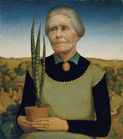 "Grant Wood's painting of his mom from ""Paintings Of Mom by 33 Famous Artists For Mothers Day."""