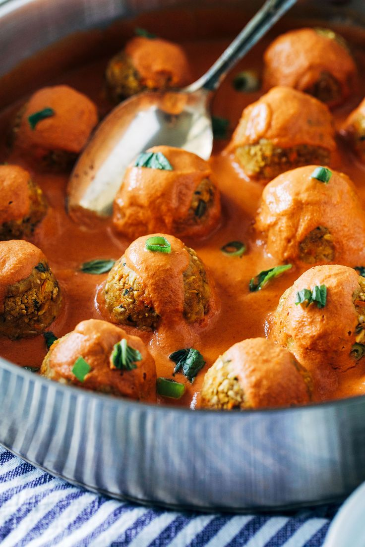 """Thai Red Curry Chickpea 'Meatballs""""- fresh ginger, carrots and garlic are blended with chickpeas and served with a creamy red curry sauce for a satisfying and flavorful plant-based meal. (vegan + gluten-free)"""