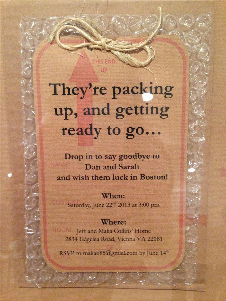 Going away party invitation on bubble wrap!