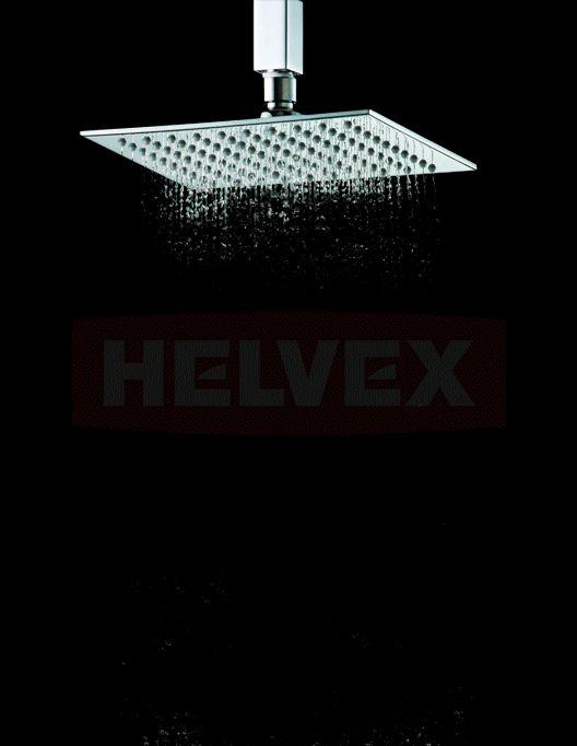 """Regadera Cuadrada Ultra Plana de 8""""  de chorro fijo con sistema de anticalcáreo http://www.helvex.com/"""
