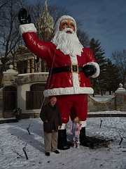Mom & Dad always made us take a picture by this Santa on the town square in Mason, Michigan...very mortifying for an awkward 15 year old girl!