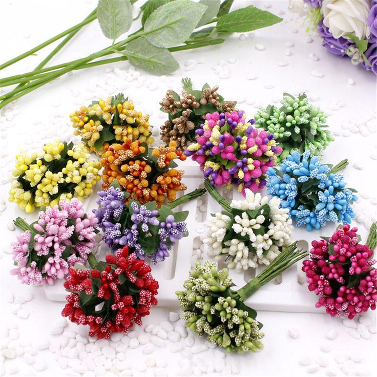 Goedkope 12 stks kunstmatige meeldraden bloem voor bruiloft woondecoratie stamper diy scrapbooking guirlande craft nep bloemen