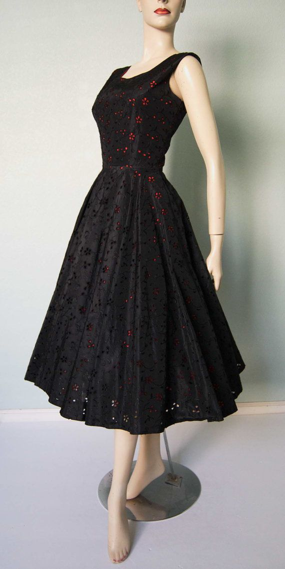 Amazing 1950s Embroidered Eyelet Taffeta -  Layered New Look - Party or Cocktail Dress - Black over Red Taffeta - Frances Prisco Original
