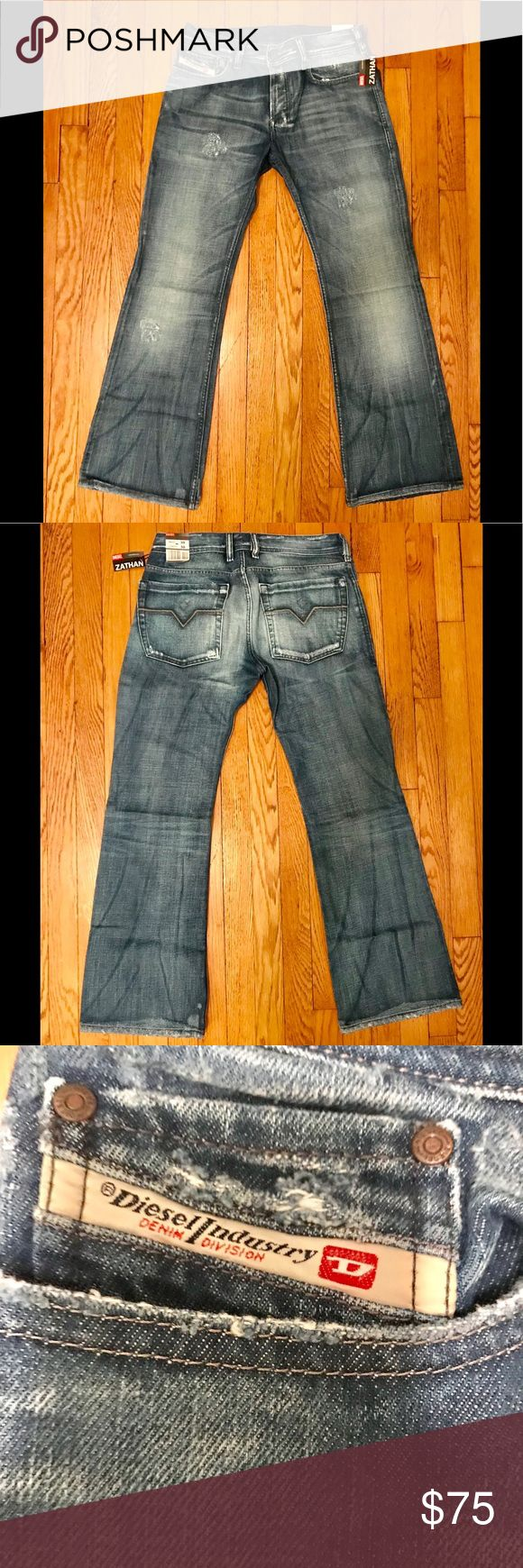 Diesel Zathan jeans Diesel Zathan jeans. Brand new with tags. Blue distressed denim. Low rise boot cut fit. 30 waist 30 length. Diesel Jeans Bootcut