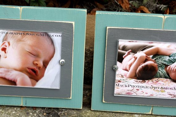 Distressed Picture Frames Aqua 5x7 Frame by WestAshleyWallArt
