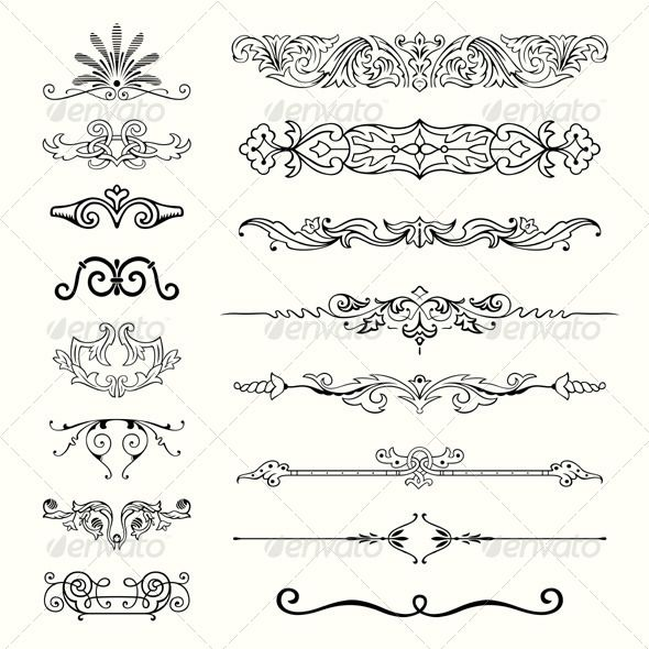 Design Elements #GraphicRiver Set of Design elements. The image is a vector illustration and can be used for different compositions. The image is an .eps file and you will need a vector editor to use this file, such as Adobe Illustrator. Created: 25October13 GraphicsFilesIncluded: VectorEPS Layered: No MinimumAdobeCSVersion: CS Tags: abstract #art #border #calligraphic #calligraphy #card #certificate #christmas #classic #classical #decorative #design #divider #document #element #filigree…