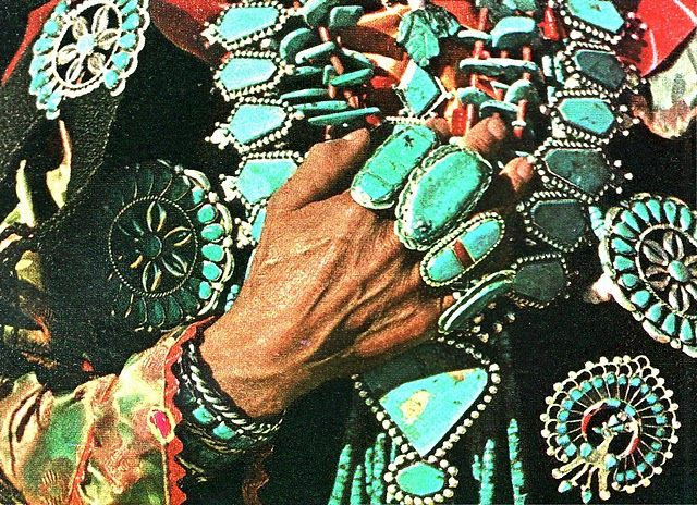 turquoise jewelry, we had to stay with a Navajo tribe when our car broke down out west.  They had the most gorgeous turqoise jewelry at the little country store, and I kick myself everyday, that I didn't buy any!
