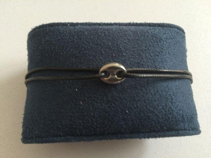Bracelet cordon et connecteur grain de café acier inoxydable : Bracelet par chezchris