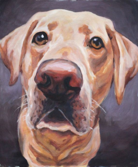 Large Custom Pet Portrait Painting on Paper by NethieLockwood (Art & Collectibles, Painting, large, pet portrait, painting, canvas, dog, pet, memorial, pet art, animal painting, custom pet portrait, chocolate lab, pit mix, sunset)