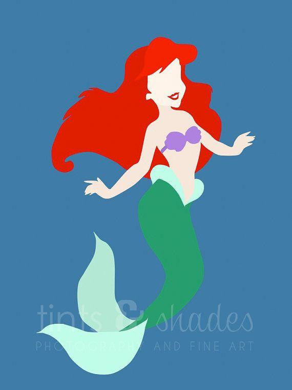 Little Mermaid 8x10 Minimalist Poster by TintsShadesFineArt, $9.50