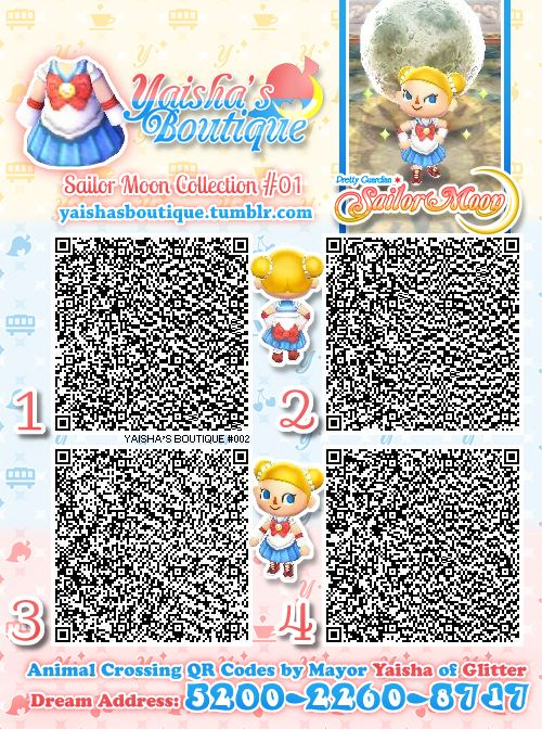 Kawaii Sailor Moon QR code for Animal crossing     zombinaandthesodomites:  This is the cutest Sailor Moon pattern I have ever seen.