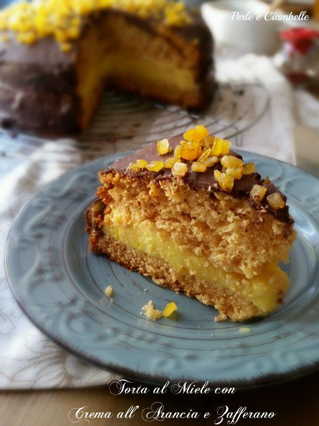 Torta al miele con crema all'arancia e zafferano