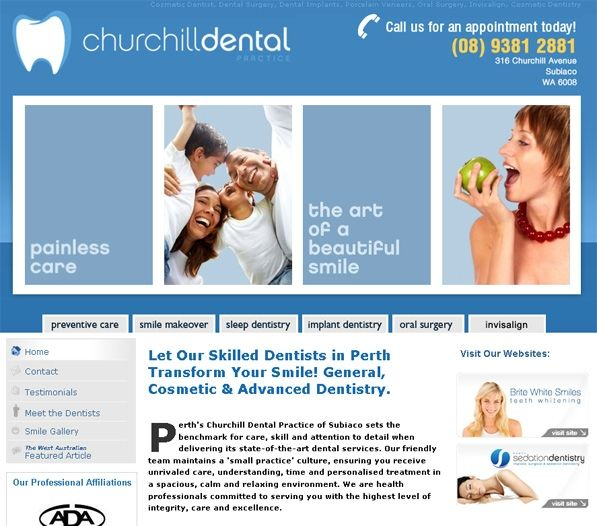 Churchill Dental Practice teamed up with Exa to create a professional and effective website where the company could communicate its products and services in a single and convenient location. Since establishing an online presence, the company has seen its customer base substantially grow.