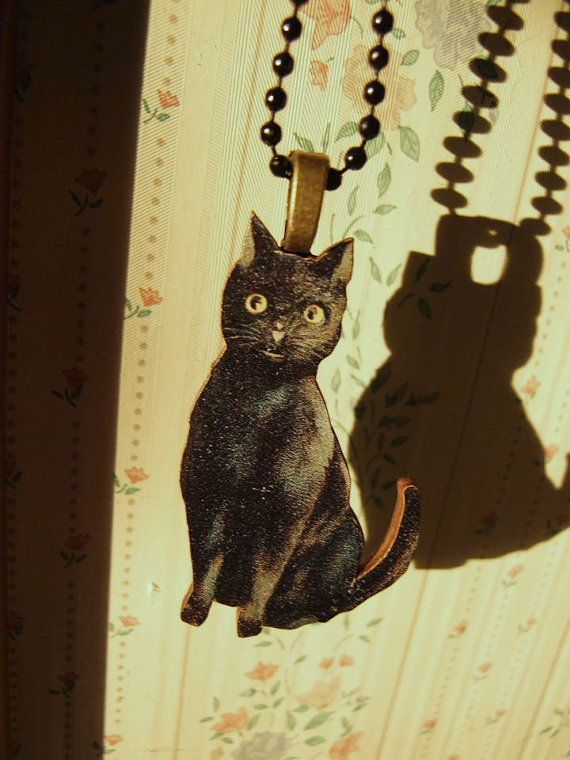 Black Vintage Look Wooden  Cat by soulinchains on Etsy, $10.00  perfect  for   Halloween
