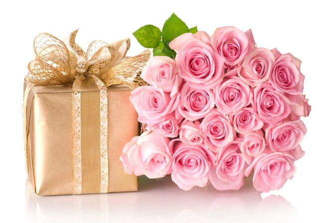 коробка, Цветы, подарок, розы. розовые, бант, букет
